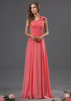 Watermelon A-line Long One Shoulder Chiffon Bridesmaid Dress(BTBD634)