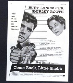 Come Back Little Sheba 1953 Movie Advertisement AD Burt Lancaster Shirley Booth