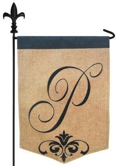 Burlap monogram garden flag featuring an elegantly designed, script letter P with an ornate scroll accent, all heavily embroidered on a textured polyester material that looks like real burlap. This fl