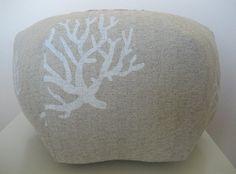 "18"" Ottoman Pouf Floor Pillow Natural Coral Beige White"