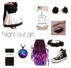 """Night Out Girl"" by insanity5678 ❤ liked on Polyvore featuring Converse, Casetify, Whistles, women's clothing, women, female, woman, misses and juniors"