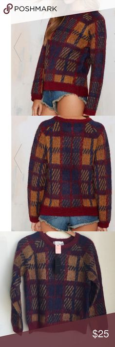 #68🦄🎃 Totally falling for this plaid essential. The Trudy Sweater is made in a mohair-blend and features a navy, burgundy, and mustard plaid print and ribbing at edges. Wear it with all your fall denim and a ribbed knit beanie!  *Acrylic/Mohair/Polyester/Wool  *Runs true to size  *Model is wearing size x-small  *Dry clean only  *Imported Nasty Gal Sweaters