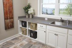 Tile: Porada by Dal Tile Color: Soft Taupe J. Dal Tile, Flooring Store, Vinyl Tiles, Parade Of Homes, Color Tile, Double Vanity, Custom Homes, Hardwood, Evans