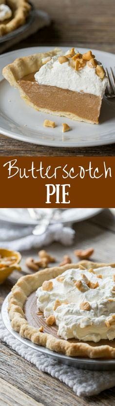 Butterscotch Pie ~ Old fashioned butterscotch custard served in a pre-baked pie crust then topped with sweetened whipped cream and chopped roasted cashews. www.savingdessert.com