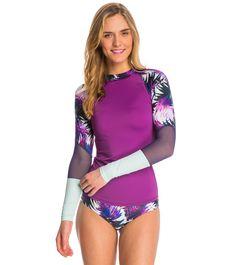 Roxy Women's Carribean Sunset Long Sleeve Rash Guard at SwimOutlet.com – The Web's most popular swim shop