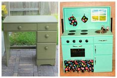 Turn a desk into a play kitchen. Fyi you can buy oven parts from thrift stores, home depot. Oven door and oven shelf is made from heavy duty cardboard