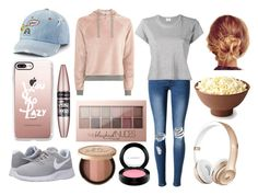 """""""Lazy Day - At Home"""" by fionaandroid ❤ liked on Polyvore featuring WithChic, Topshop, RE/DONE, Casetify, MAC Cosmetics, SO, Maybelline, Too Faced Cosmetics, NIKE and casual"""