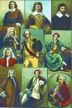 Colonial Costumes. 17th to 18th century. Early Puritan costume. A Gentleman, a merchant. A puritan Divine. Colonial Governor. Officer costumes.