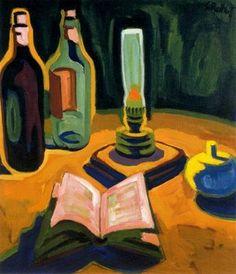 Karl Schmidt-Rottluff, still life with bottles, book and lamp [?] on ArtStack #karl-schmidt-rottluff #art