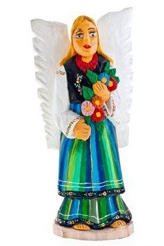 Rzeźba z drewna - rękodzieło - anioł w stroju ludowym z kwiatami - 33 cm