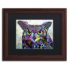 """Trademark Art 'The Owl' by Dean Russo Framed Graphic Art Size: 16"""" H x 20"""" W x 0.5"""" D, Matte Color: Black"""