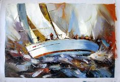 """24"""" by 36"""" - Tall Ships sailing - Nr.36 - Museum Quality Oil Painting on Canvas Art by Artseasy on Etsy"""