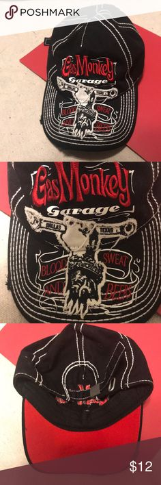 Gas monkey garage strapback hat Gas monkey garage strapback hat  Preowned almost new condition  Features a distressed brim and strapback gas monkey garage Accessories Hats