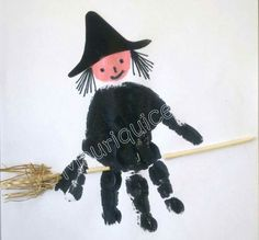 halloween crafts for kids - I don't believe in witches but there are them, there are! Diy Halloween, Halloween Kita, Halloween Crafts For Toddlers, Halloween Arts And Crafts, Theme Halloween, Toddler Crafts, Daycare Crafts, Preschool Crafts, Manualidades Halloween