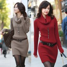 2014 autumn/winter new women's turtleneck sweater dress thickening pullover long sleeve large size Women's Knitted Sweater(China (Mainland))