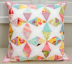 Kaleidoscope Foundation Paper Pieced Cushion or Mini Quilt PDF - Tied with A Ribbon