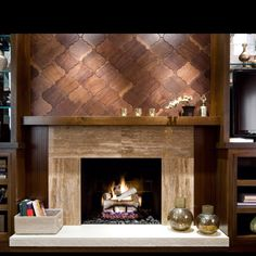 Love the wood on the fireplace surround
