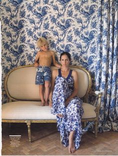 Carolina Herrera Jr. with her son Miguel in the master bedroom of her house in Extremadura, Spain.