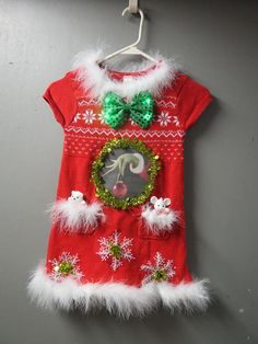 22ee380dbe46 Adorable Light up Girls Red Tacky Ugly Christmas Sweater Dress bow size 6  Red with White Feather FooFoo Trim Darling! Christmas Party Dress