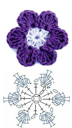 Most recent Totally Free Crochet flowers petals Ideas Flores Crochet Flower Tutorial, Crochet Flower Patterns, Crochet Designs, Crochet Flowers, Knitting Patterns, Pattern Designs, Crochet Ideas, Crochet Diagram, Crochet Motif