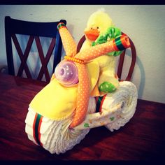 Ducky diaper tricycle I made for DIY diaper cake baby shower gift