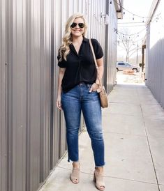 ShopStyle Look by cristincooper featuring All in Favor Button Back Top and Vintage straight jean in soft light indigo wash Curvy Outfits, Chic Outfits, Spring Outfits, Plus Size Outfits, Fashion Outfits, Fashion Trends, Southern Outfits, Outfits Mujer, Curvy Girl Fashion