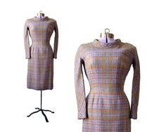 50s Plaid Dress / Wool Dress  / Long Sleeve by MinxouriVintage