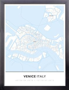 Framed Map Poster of Venice Italy - Simple Ski Map - Venice Map Art