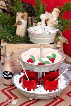 Cute hot chocolate display!  Baby marshmallows Let the Party Begin - 3 Tier Tabletop Party Tin