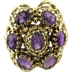 Vintage 14 Karat Yellow Gold Amethyst Ring Size 7.5