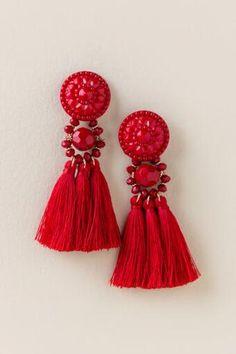 Cassandra Button Tassel Earring In Red