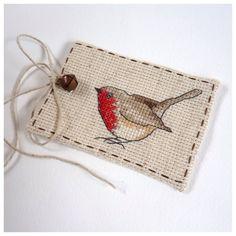 Cross Stitch Christmas Robin Gift Tag by MadeByRachel on Etsy