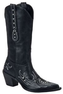 Roper® Ladies Black w/Crystals & Horseshoe Stitch Pointed Toe Western Fashion Boot | Cavender's