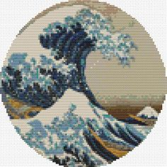Great Wave off Kanagawa Cross Stitch Pattern PDF, CIRCULAR Cross Stitch Chart, Asian Cross Stitch, Katsushika Hokusai by TheArtofCrossStitch on Etsy
