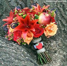 Autumn bridal bouquet for an apple-themed wedding at a Michigan cider mill.
