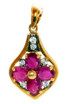 Gemstone Jewelry Diamond Ruby Pendant 18K Yellow by BKGjewelry, $800.00