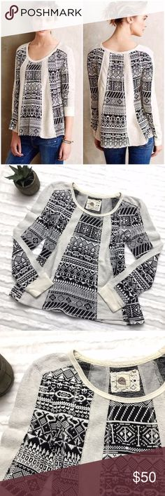 ANTHROPOLOGIE Geo Jacquard Swing Sweater ANTHROPOLOGIE Geo Jacquard Swing Sweater by Lilka, size large. Super comfortable Swing sweater, with jacquard and Terry cloth panels. Tribal, Aztec, Nordic print detail. Anthropologie Sweaters