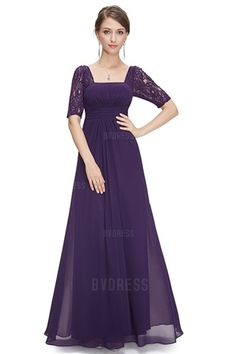 A-Line/Princess Square Floor-length Chiffon Evening Dress