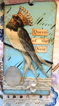 From the Birdsong Tagbook Swap   my nest is empty now but I did reign once