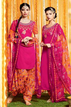 Pink and Orange Colour Cotton and Satin Fabric Digital Printed Unstitched Patiala Suit Comes With Matching Dupatta and Bottom Fabric. This Suit Is Crafted With Digital Printed Work. The Suit Comes As ...