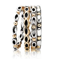 Thin stackable rings with details in 14kt gold or solid gold ring with enamel details #PANDORAring $120, $395 and $160
