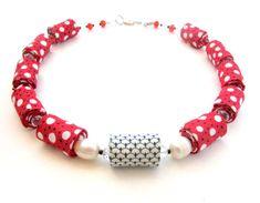 Red polka dot fiber necklace smile fiber necklace by Gilgulim