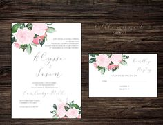 Romantic pink watercolour floral DIY by LittleMermaidPaperCo Printable Wedding Invitations, Invites, Pink Watercolor, Papers Co, Paper Texture, Letterpress, Place Card Holders