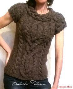 """Пуловер""""Арановое хитросплетение""""-моё вязание."""
