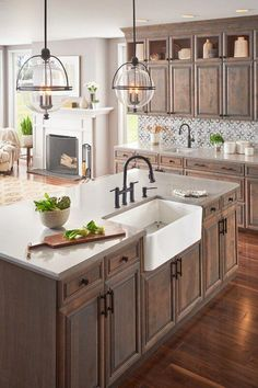 If you are looking for Rustic Farmhouse Kitchen Design Ideas, You come to the right place. Below are the Rustic Farmhouse Kitchen Design Ideas. Farmhouse Sink Kitchen, Diy Kitchen Cabinets, Modern Farmhouse Kitchens, Home Decor Kitchen, Cool Kitchens, Kitchen Countertops, Kitchen Modern, Small Kitchens, Minimal Kitchen