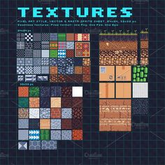 Textures pixel art set by VectorPixelStar on Business Illustration, Pencil Illustration, Texture Design, Texture Art, Game Design, Pixel Art Games, Seamless Textures, Creative Sketches, Paint Markers