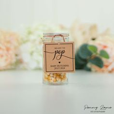 Ready to Pop Baby Shower Popcorn Mini Champagne Favor Tags Pop Baby Showers, Baby Shower Parties, Baby Shower Favors, Baby Shower Decorations, Beautiful Cursive Fonts, Mini Champagne Bottles, Little Man Party, When You Are Happy, Ready To Pop