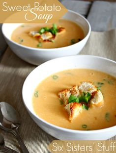 This Sweet Potato Soup is amazing! You have got to try it from Sixsistersstuff.com