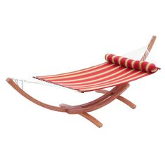 Striped hammock with a matching bolster pillow and cypress wood stand.   Product: Hammock and standConstruction Mat...