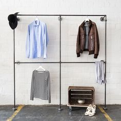 Clothes stand - open closet - wardrobe - clothing rail - industrial design - steel pipes - TWO x TWO Open Wardrobe, Wardrobe Closet, Wardrobe Clothing, Steel Wardrobe, Clothes Stand, Clothes Rail, Shop Fittings, Diy Garden Decor, Closet Organization